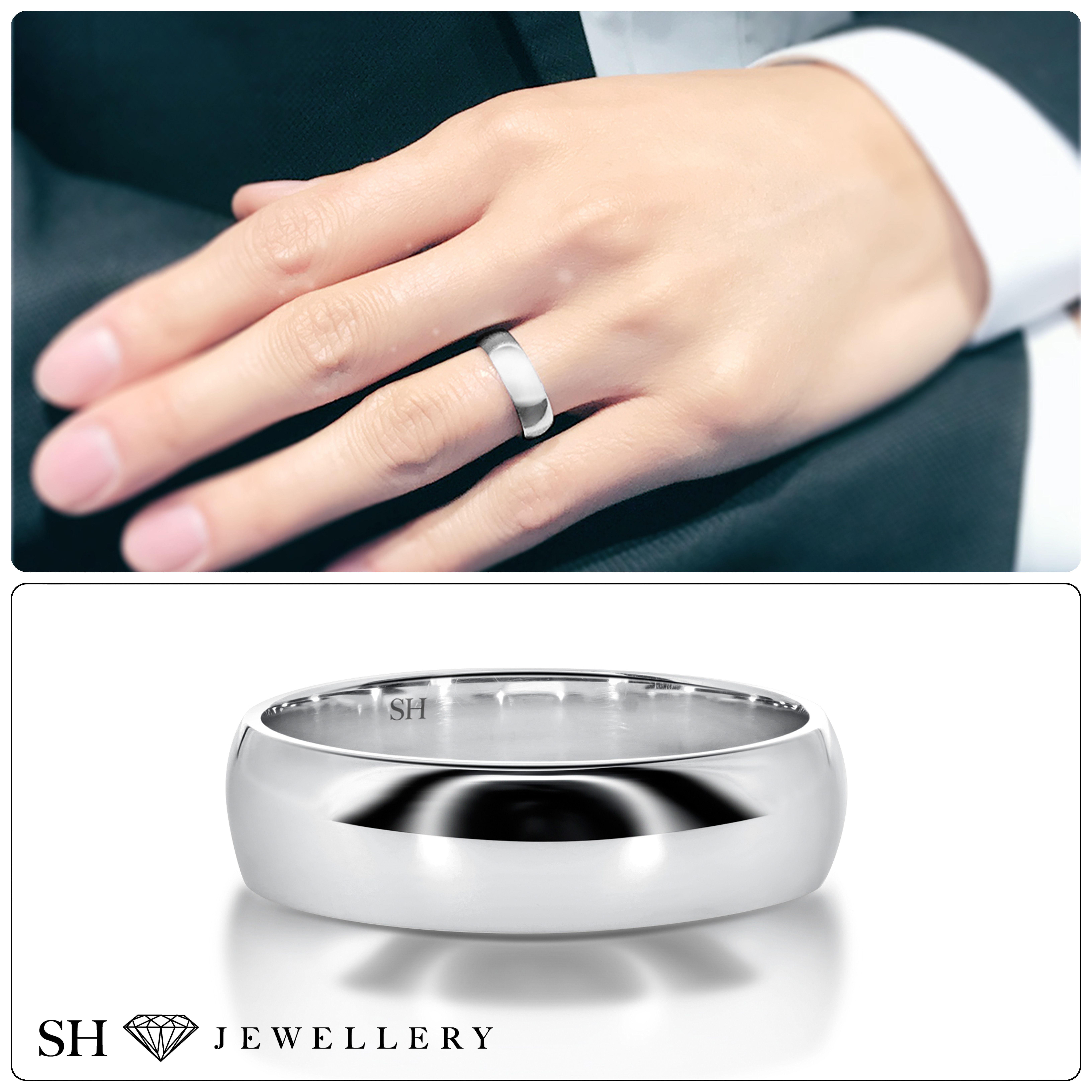 Men S Classic Wide White Gold Half Round Wedding Ring 6mm R12 054 W0126 A Classic Wide Half Rounded Wedding Rings Round Shop Engagement Rings Wedding Rings