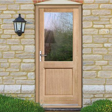 2XG Oak Door with Clear Safety Double Glazing - Lifestyle Image & 2XG Oak Door with Clear Safety Double Glazing | Oak doors Safety ...