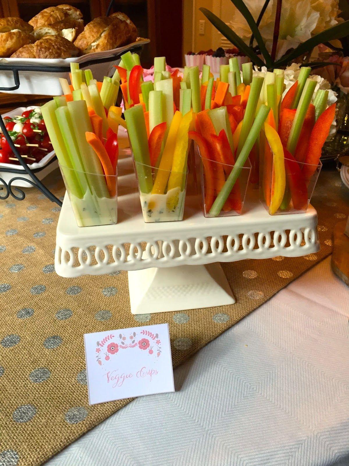 hayden s english garden baby shower food table veggie cups sticks