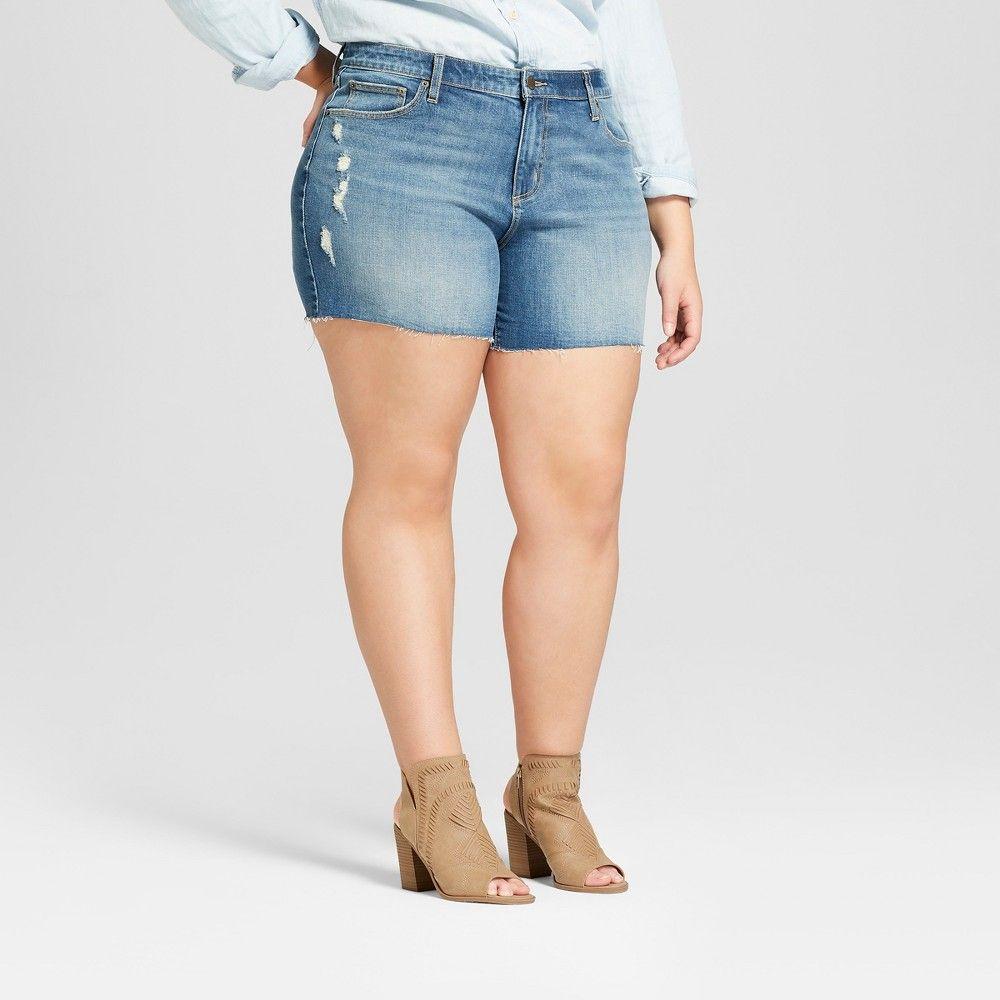 4c50914455738 Women s Plus Size Raw Hem Boyfriend Jean Shorts - Universal Thread Medium  Wash 16W