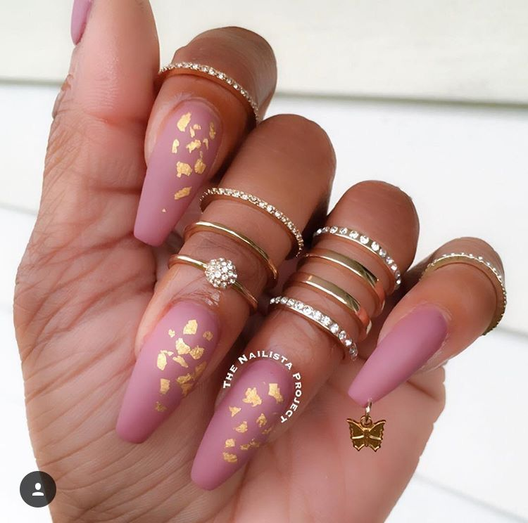 Matte pink nails with gold flakes | Nail Extentions | Pinterest