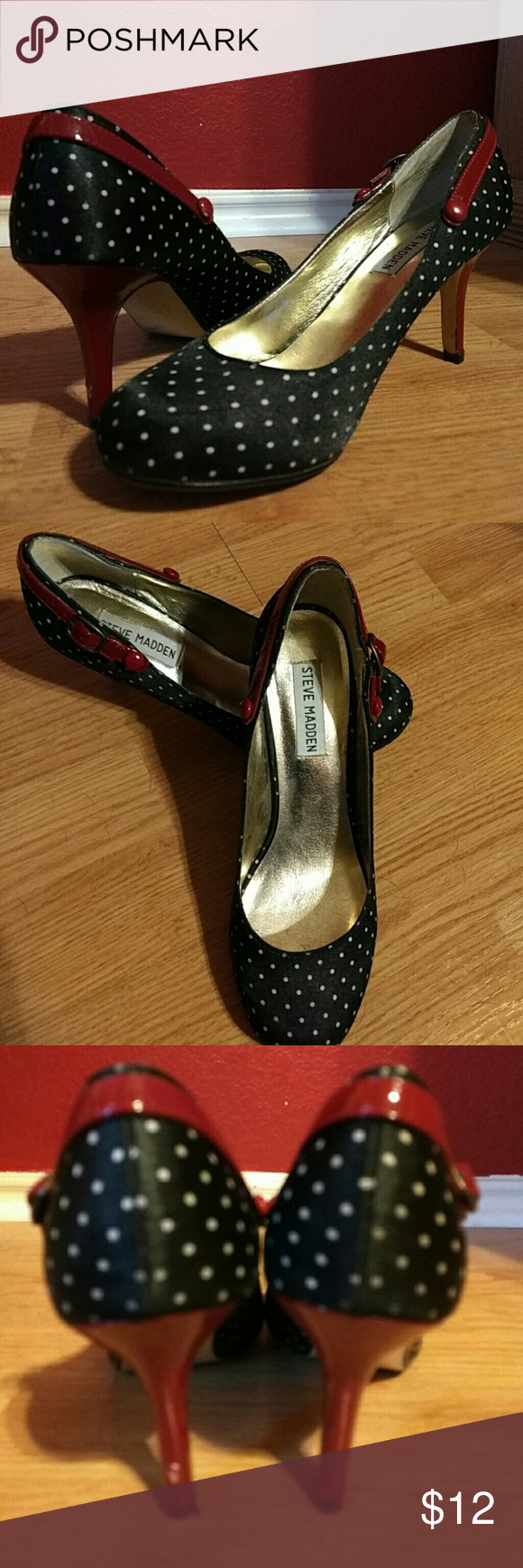 """Steve Madden Luvvy 💖Mary Janes 👠Adorable black polka dot with red pin-up pumps with a 3"""" heel. They have been worn but gently used. The insides are in perfect condition the only wear is showing at the bottom of the shoes. Steve Madden Shoes Heels"""
