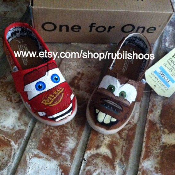 3540ba7e9f6 Lightning McQueen  Tow Mater Theme on TOMS by RubiiShoos on Etsy ...