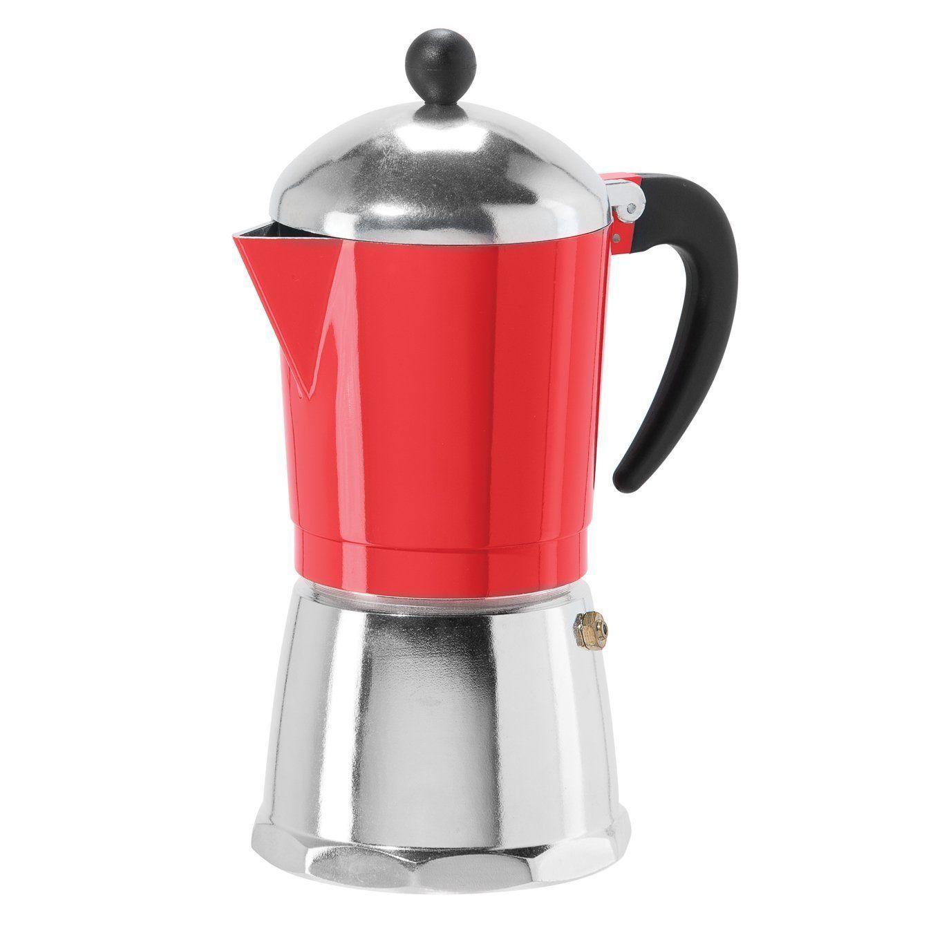 Oggi cup cast aluminum stovetop espresso coffee maker red