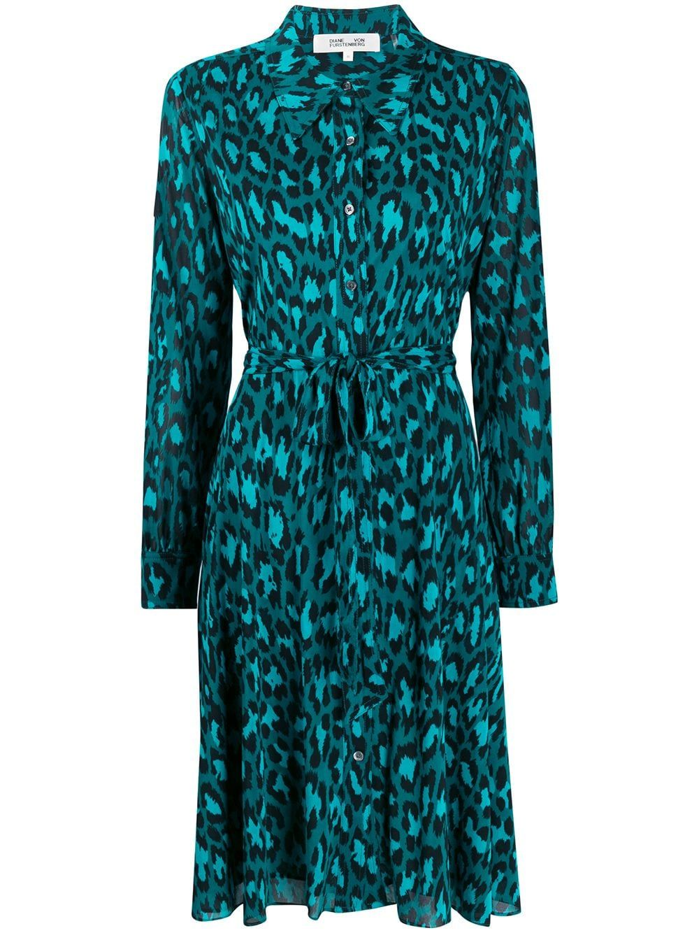 Green animal-print shirt dress from DVF Diane von Furstenberg featuring a classic collar, a front button fastening, long sleeves, a tie waist and a mid-length.