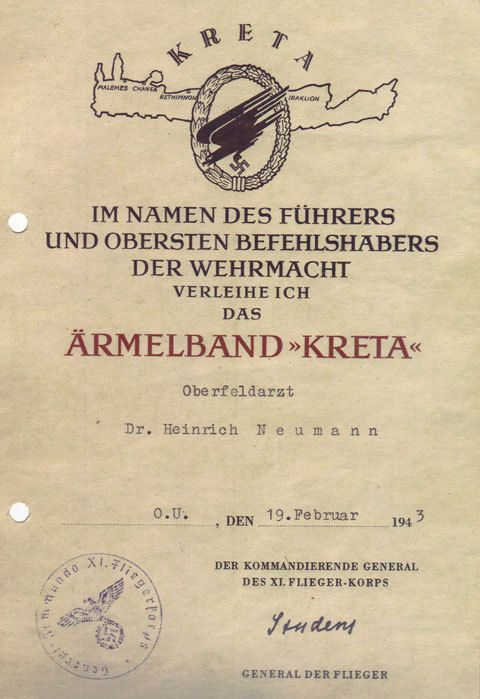 The Award Document For The Kreta Cuff Title Of Oberfeldarzt Dr