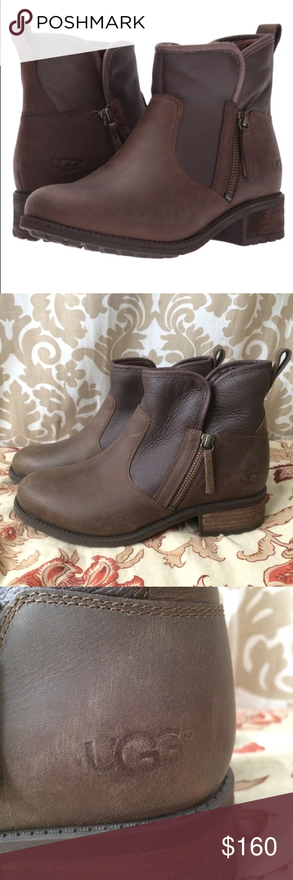 b4efc85677f New! UGG Ankle boot side zip Lavelle stout brown 7 Hot new UGG ankle ...