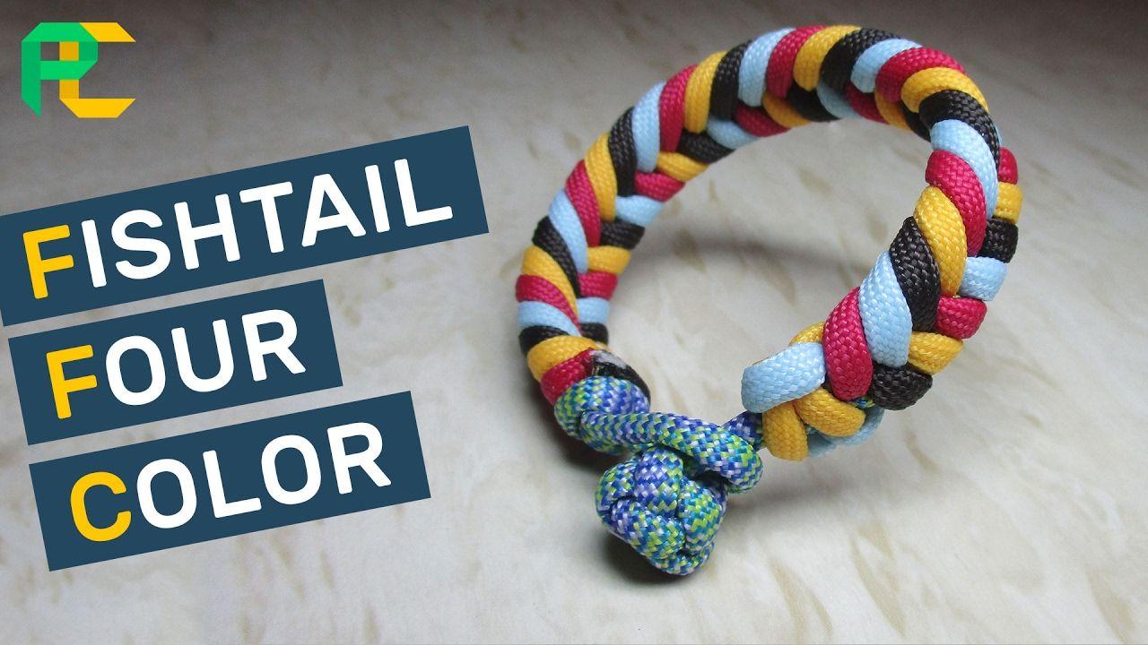 Fishtail 4 color paracord bracelet without buckle