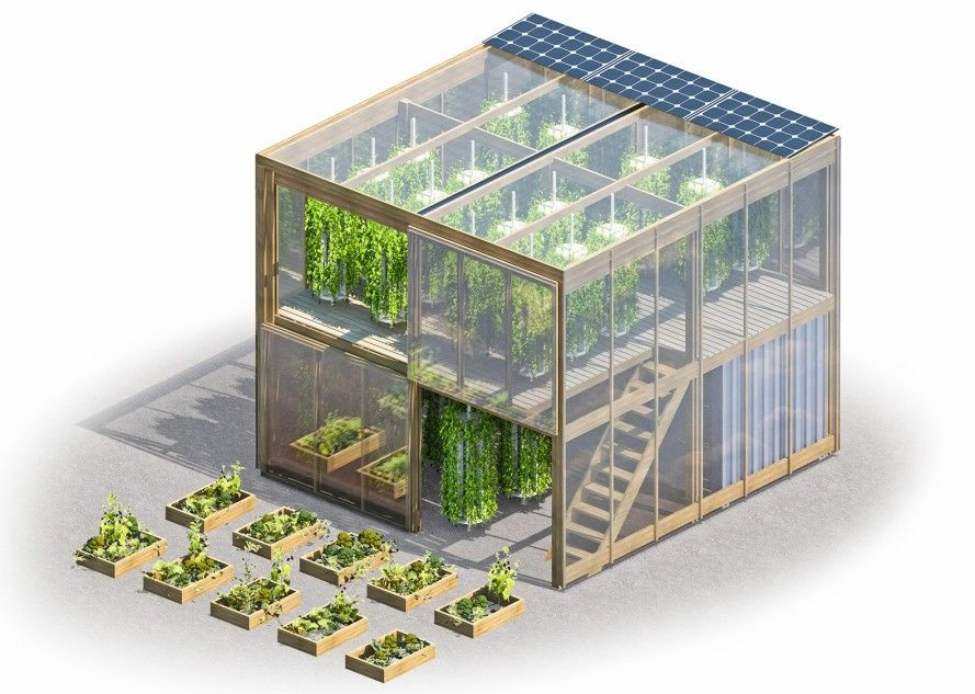 "Flatpack hydroponic garden delivers 538squarefeet of fresh food to cities is part of Hydroponic gardening, Hydroponics, Greenhouse farming, Urban farming, Vertical farming, Urban garden - Human Habitat hopes to bring communities together by fighting ""food deserts"" and offering fulfilling employment with its urban Impact Farm"