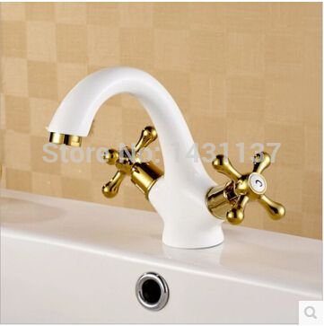 fashion high quality gold and white Copper cross handles bathroom