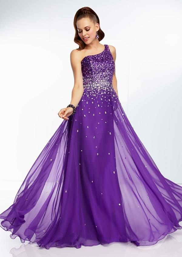 Style YAZOV One Shoulder, Chiffon Gown with Ombre Beading Zipper ...