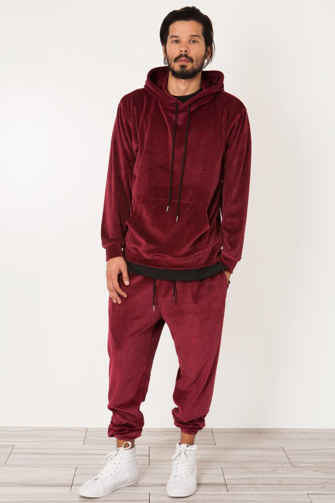 Burgundy Velour Velvet Sweat Suit Mens Velour Tracksuit Velvet Sweatsuit Mens Velour Sweatsuit