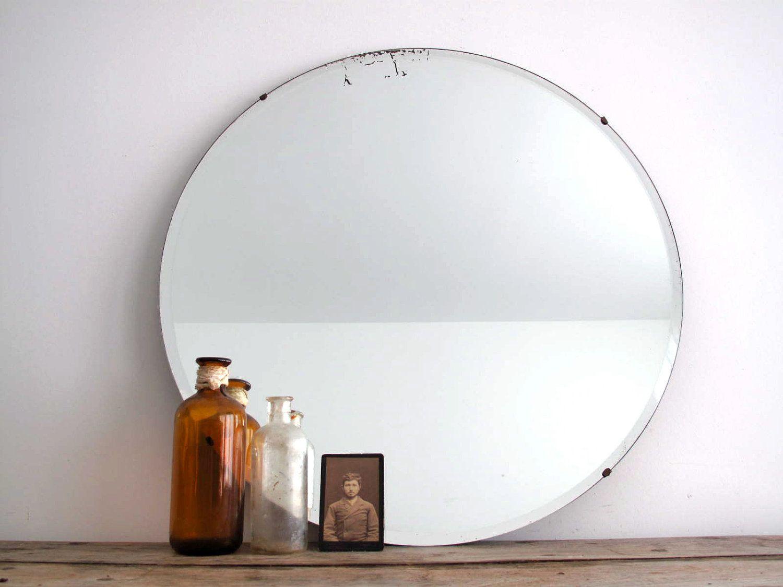 Vintage Round Wall Mirror Frameless Beveled Bathroom Mirror