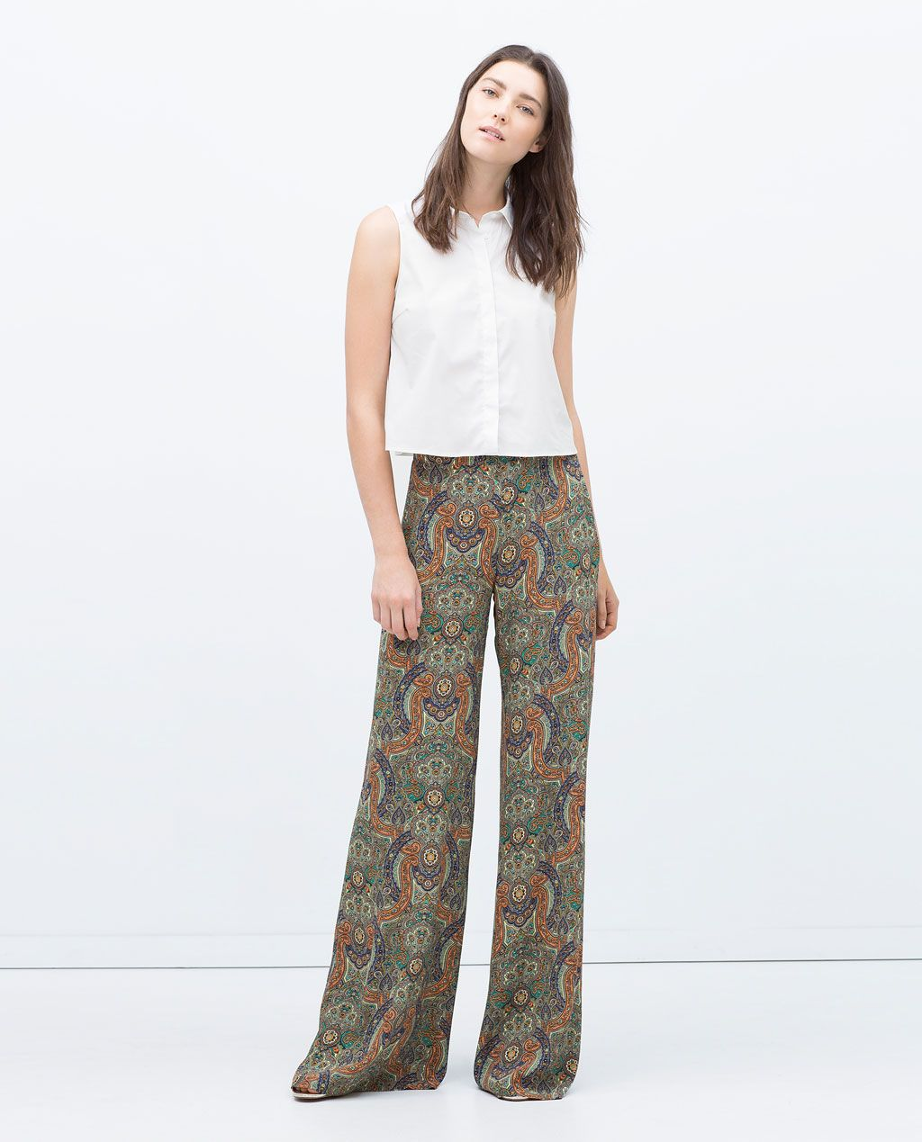 pantalon large imprim femme nouveaut s zara france fringues pinterest pantalons larges. Black Bedroom Furniture Sets. Home Design Ideas