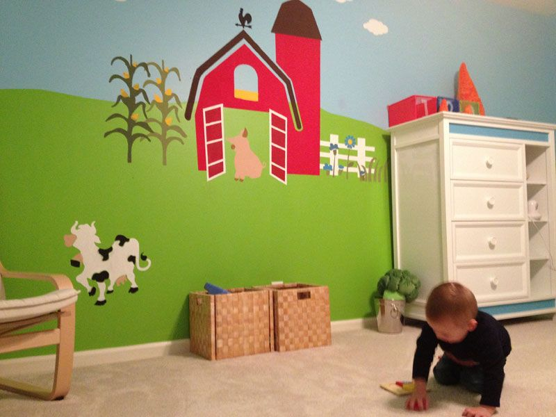 great farm mural for toddler or baby room wall decor by my wonderful walls. Black Bedroom Furniture Sets. Home Design Ideas
