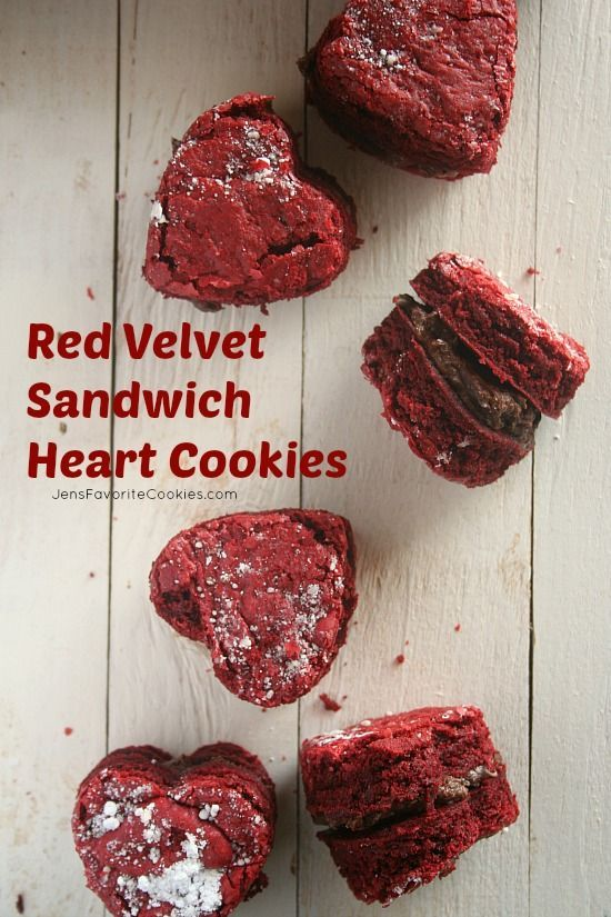 Give your sweetheart a sweet treat this Valentine's Day! These red velvet heart sandwich cookies are so ooey gooey good! Who doesn't love a chocolate filling?