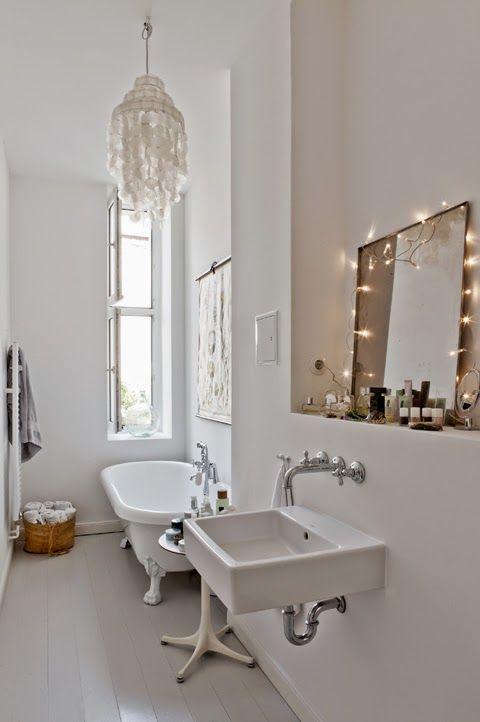 cute bathroom mirror lighting ideas bathroom. contemporary mirror long white bathroom  love the chandelier and fairy lights round mirror to cute bathroom mirror lighting ideas m