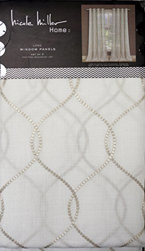 Nicole Miller Pair Of Window Curtains Panels Set Of 2 Metallic Braided  Pattern On A Cream Background 52 Inches By 84 Inches