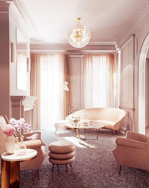 Un Salon Rose Poudré Et Cuivré A Baby Pink And Copper Living Room