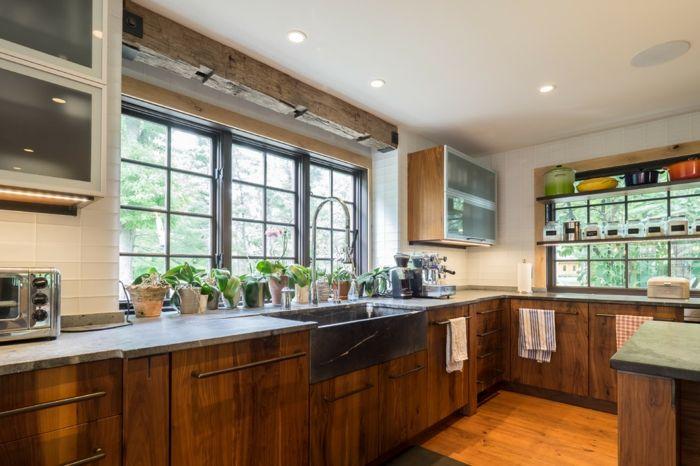 cuisine rustique moderne rangements muraux ouverts meubles bois ...