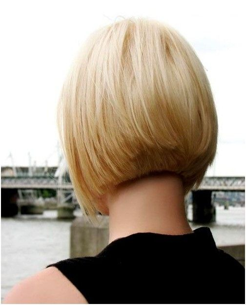Klassische Kurze Blonde Bob Schnitt Fur Frauen Ruckansicht