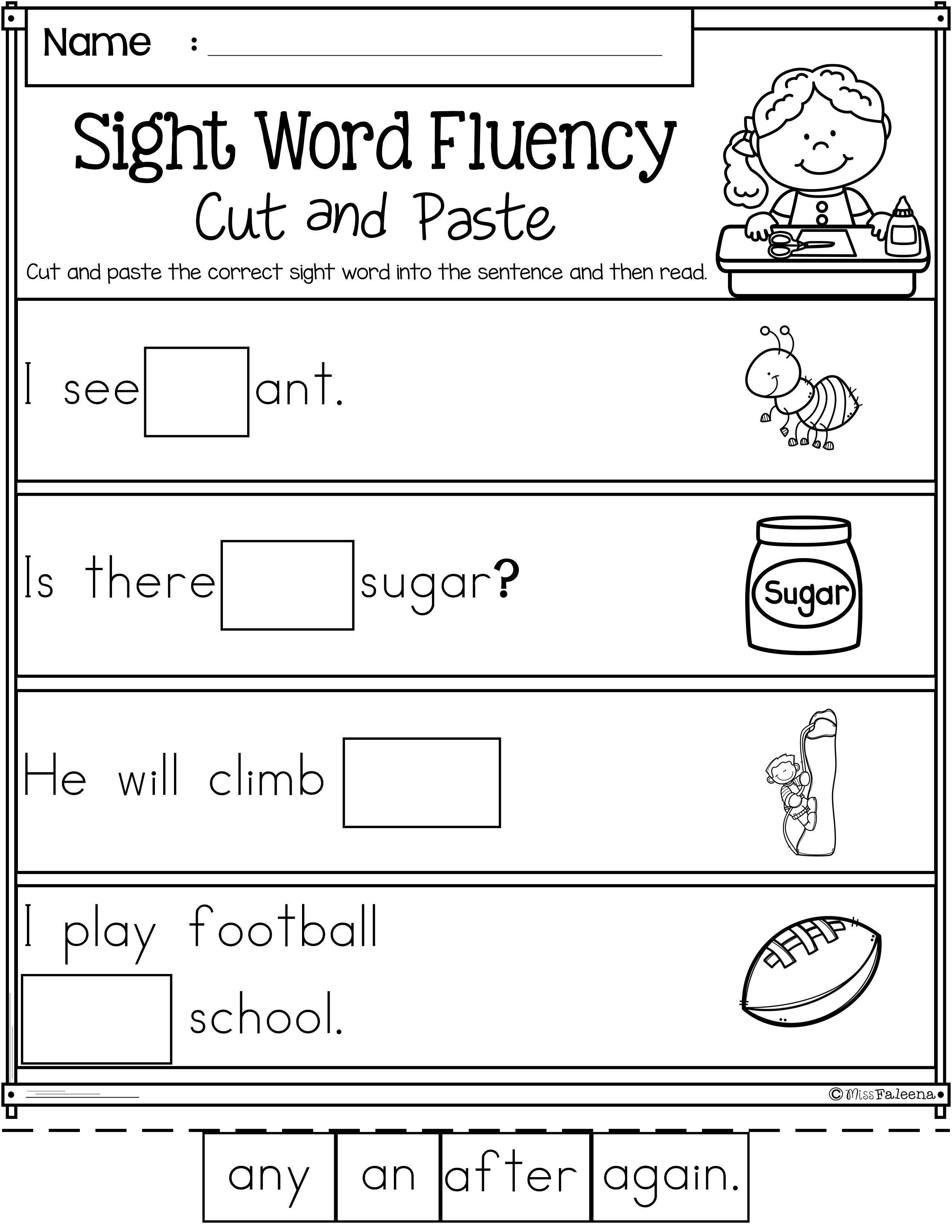 Sight Word Fluency Cut And Paste First Grade