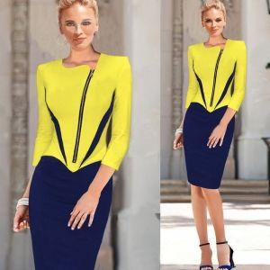 US$9.95 Yellow Asymmetrical Front ZIP Peplum Pencil Dress 15808-2