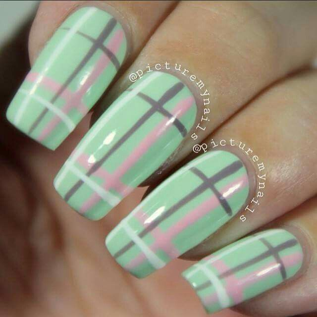 Mint, Gray, Pink, and White Plaid by picturemynails | Nail it ...