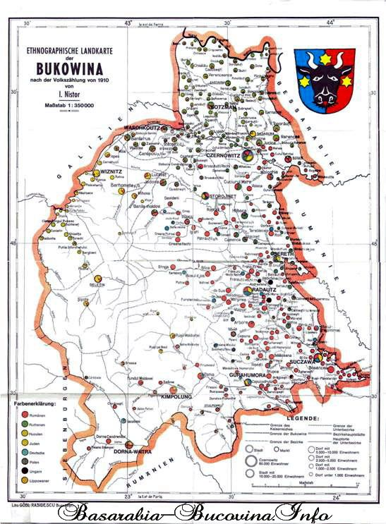 Harta Etnografica A Bucovinei De I Nistor Basarabia Bucovina