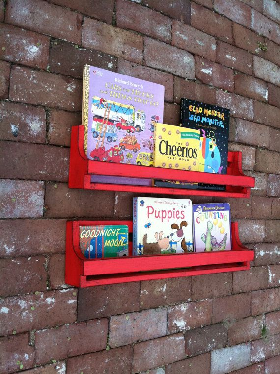 Set of 2 distressed red book shelves by WoodenBLING on Etsy, $80.00