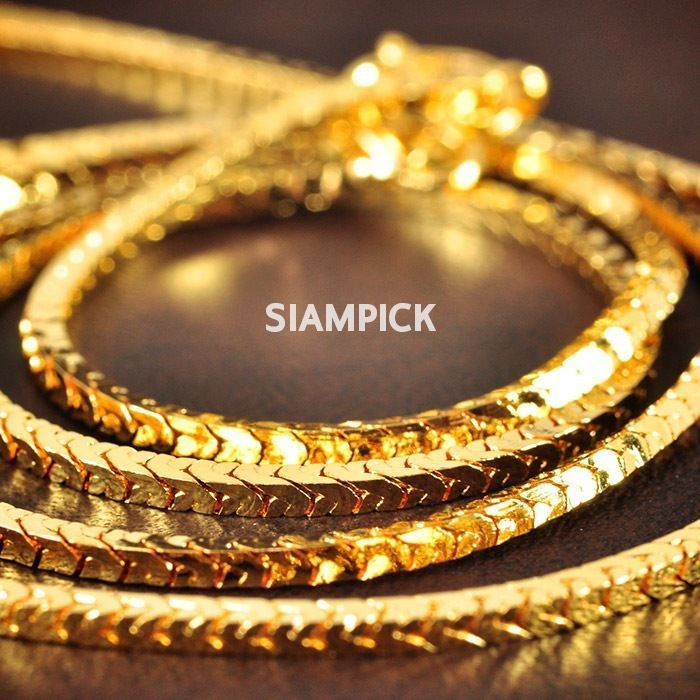 24 Inch 2mm Thai Baht 24k Yellow Gold Gp Flat Snake Chain Necklace Unisex N017