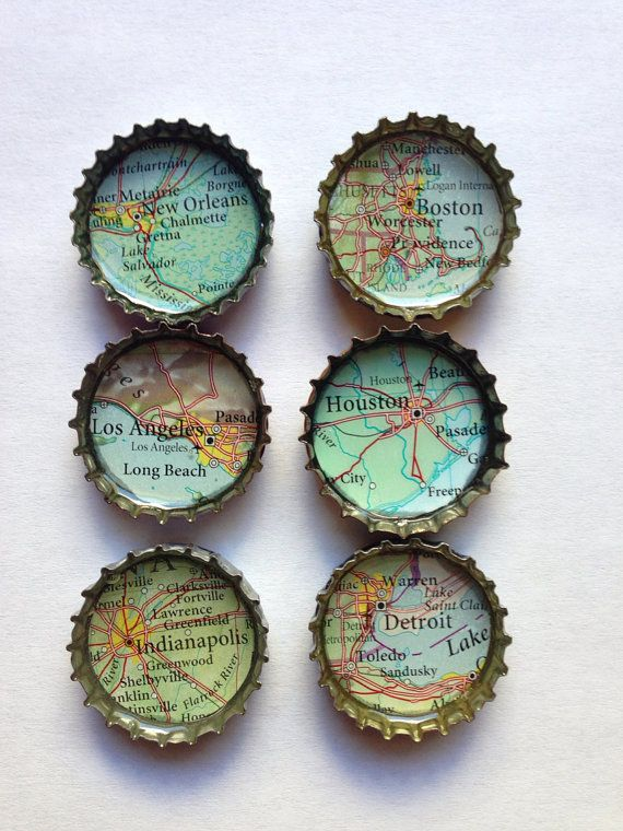 Bottle cap magnets recycled atlas map bottle cap for Can beer bottle caps be recycled