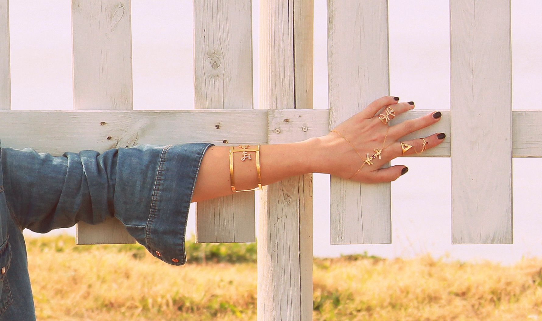 Waiting For U Brass Goldplated Cuff With Ancient Greek Symbol