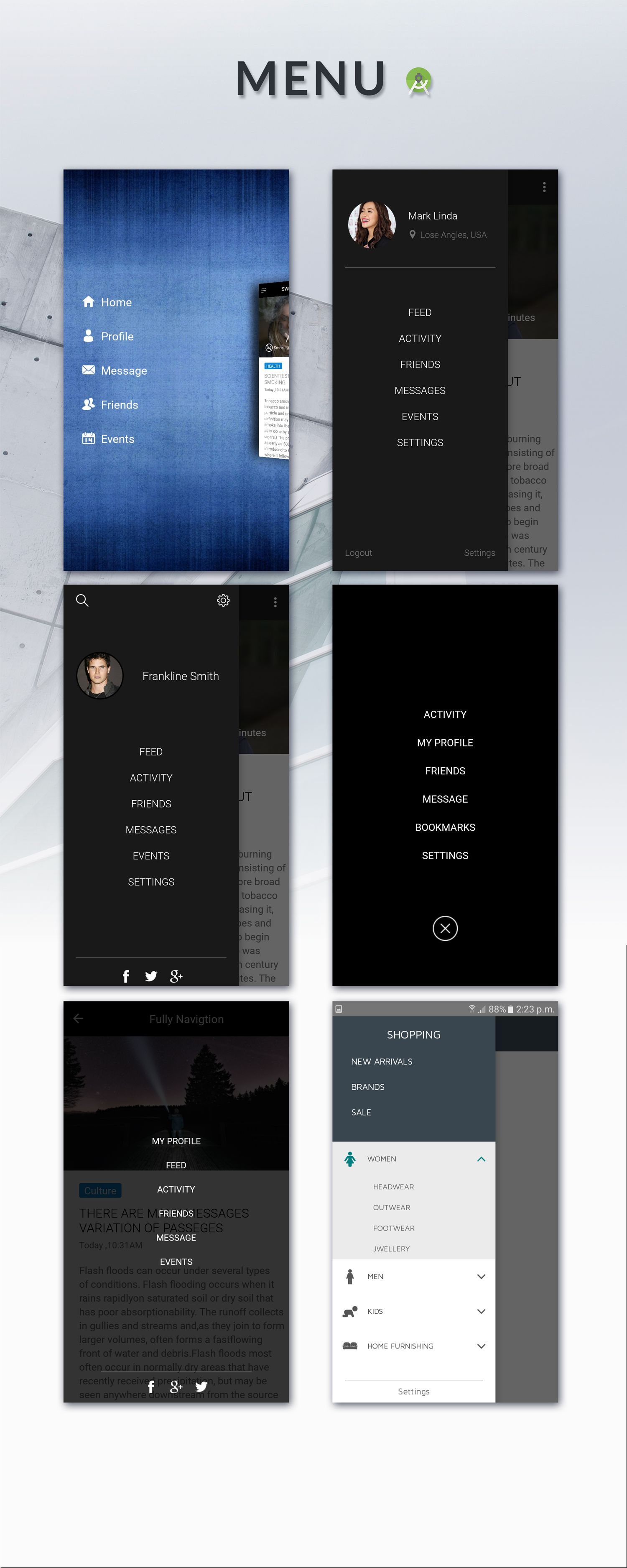 beans android ui app template ui kit menu navigation android