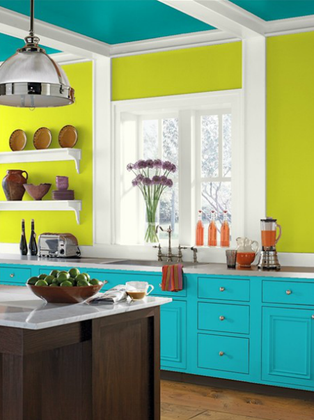 Eccentric Lime Walls Tropical Teal Ceiling Cloud Cover Trim And Cool Aqua Cabinets Fun Paint Colors From Benjamin Moore