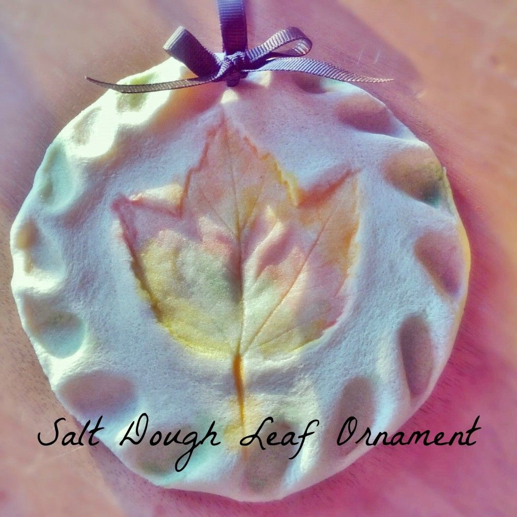 Salt Made Dough Leaf Ornament - great for sensory & gifts!
