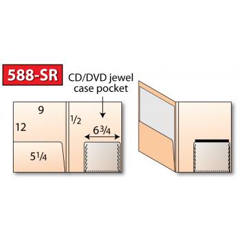 "Class: Pocket Folder <br>Style: Media/CD/DVD - 588-SR <br>Size: 9-1/2"" x 12"", 1 Expandable Pocket<br>Feature:Expandable standard CD/DVD jewel case pocket<br>Sku:588-SR"