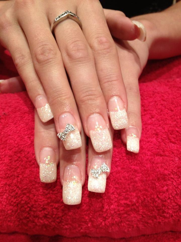 Acrylic Nails. White Glitter French Manicure. White Glitter Tips ...