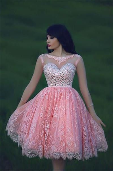 Lovely Beadings Lace Cocktail Dress Open Back Pink Homecoming Dress ...