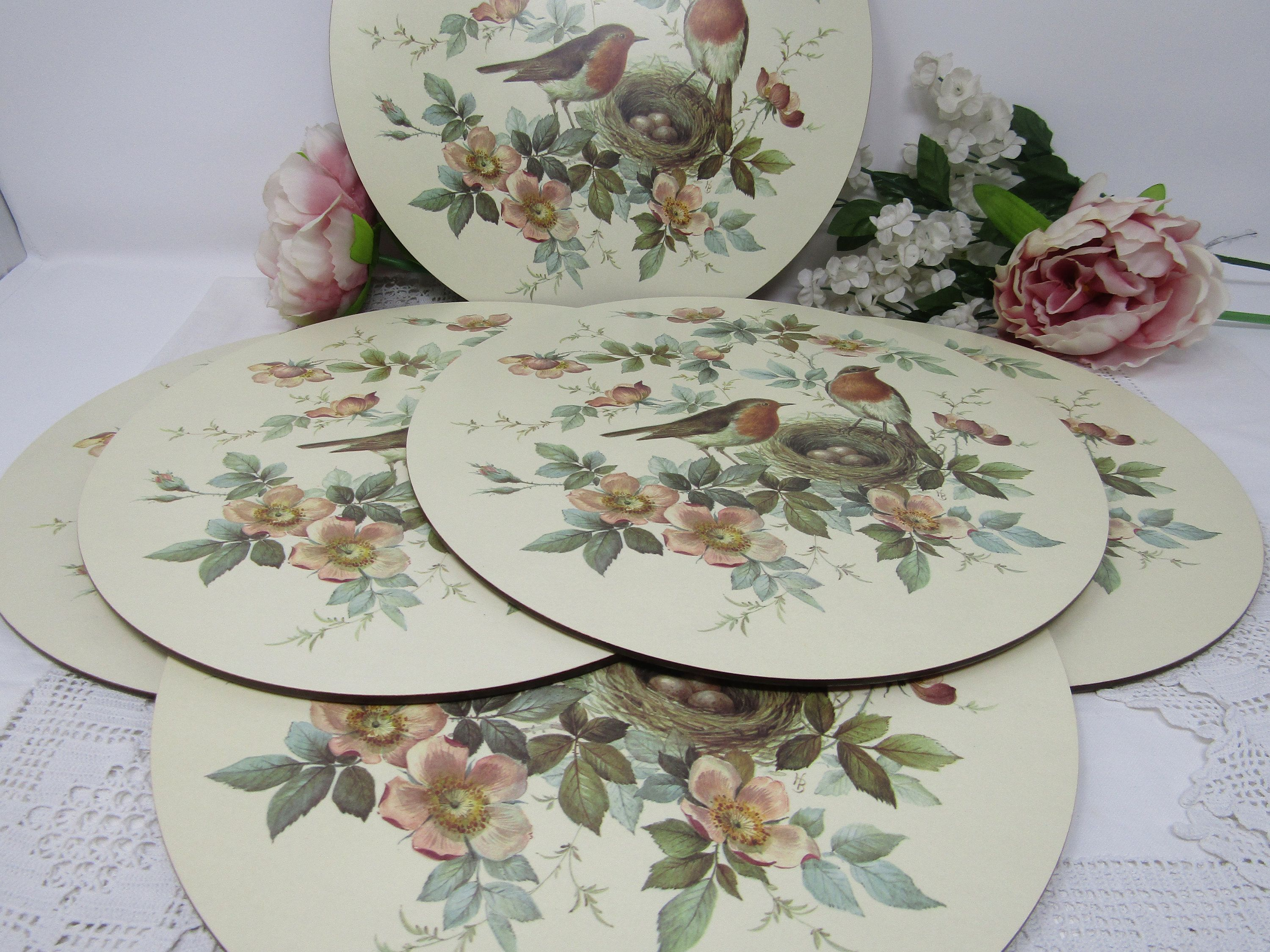 Set Of 6 Pimpernel 10 Placemats Boxed Robins And Etsy Floral Placemats Vintage Tableware Placemats