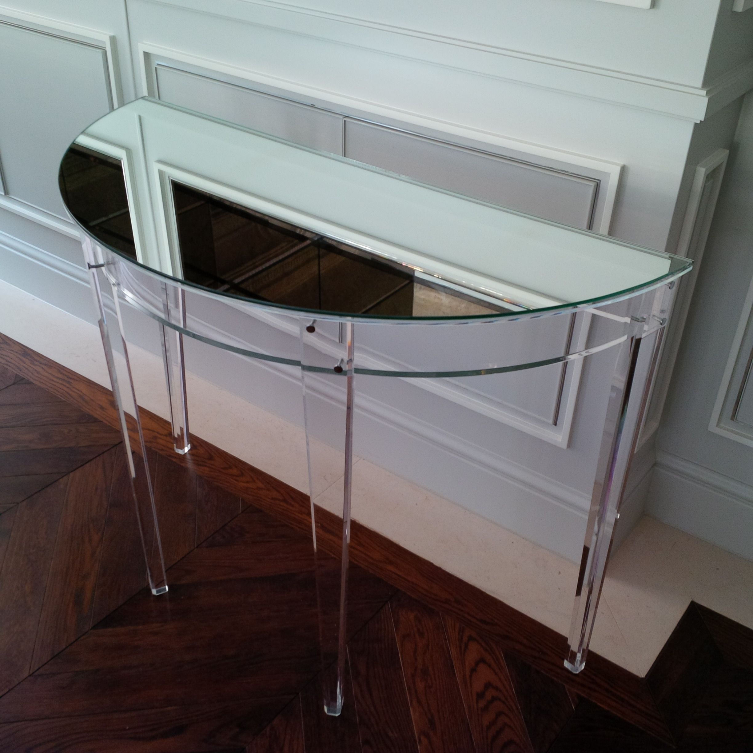 Carewjones.co.uk Ltd   Demi Lune Acrylic And Mirror Console Table With  Tapered