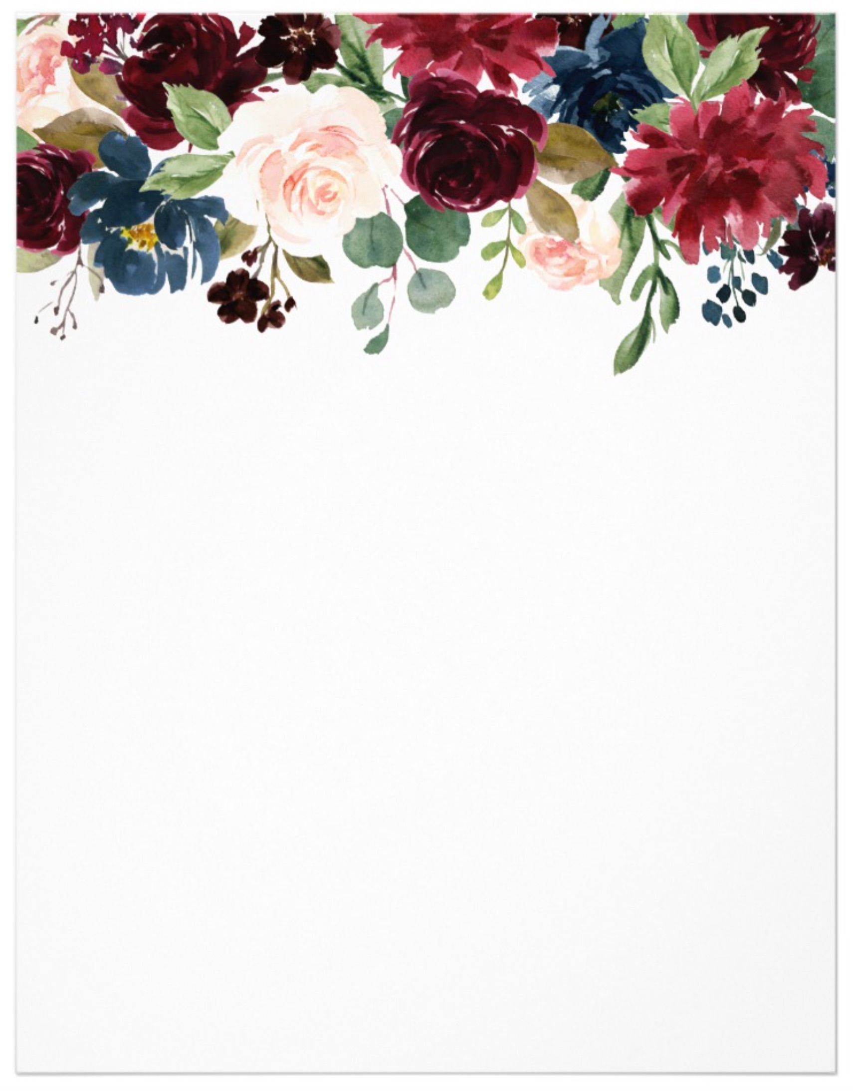 Burgundy Blue Watercolor Flowers Border Letterhead By JunkyDotCom