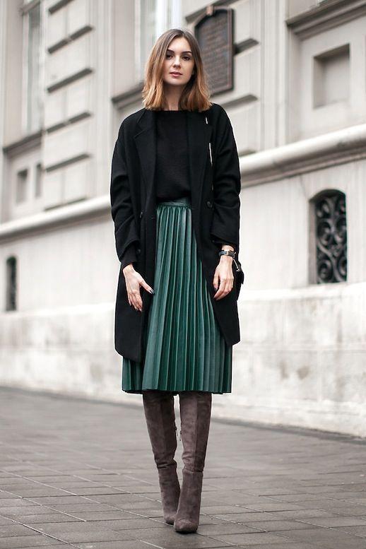 8b87bdb34 BOTAS OTK | street style women | Faldas plisadas, Faldas con botas e ...