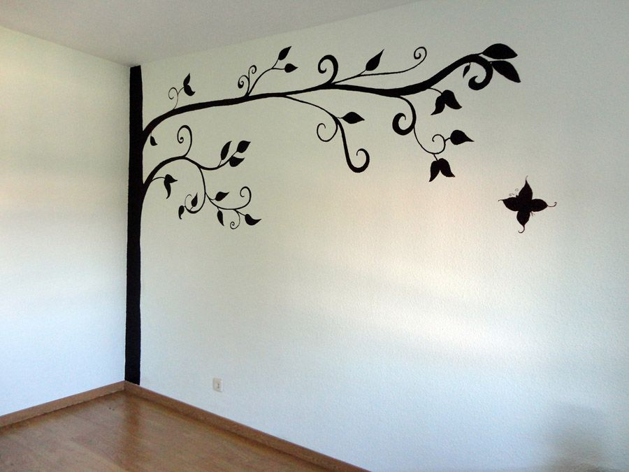 Mural arbol en pared decoracion de interiores decoracion de pared decorar paredes y - Como pintar un mural infantil en la pared ...