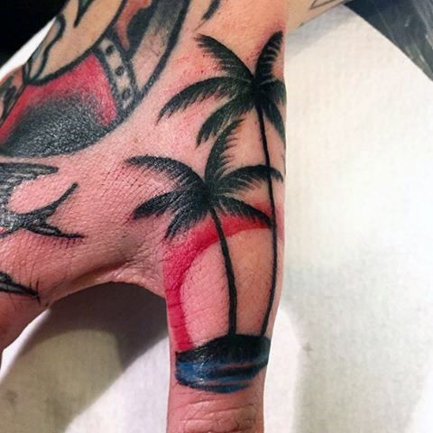 Mens Finger Waves Tattoo Design With Sunset And Palm Trees