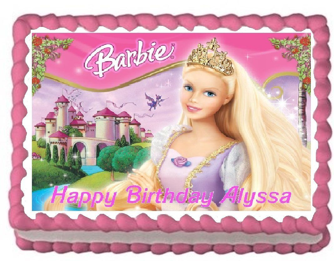 Barbie Round Edible Birthday Cake Topper Frosting Sheet Decoration