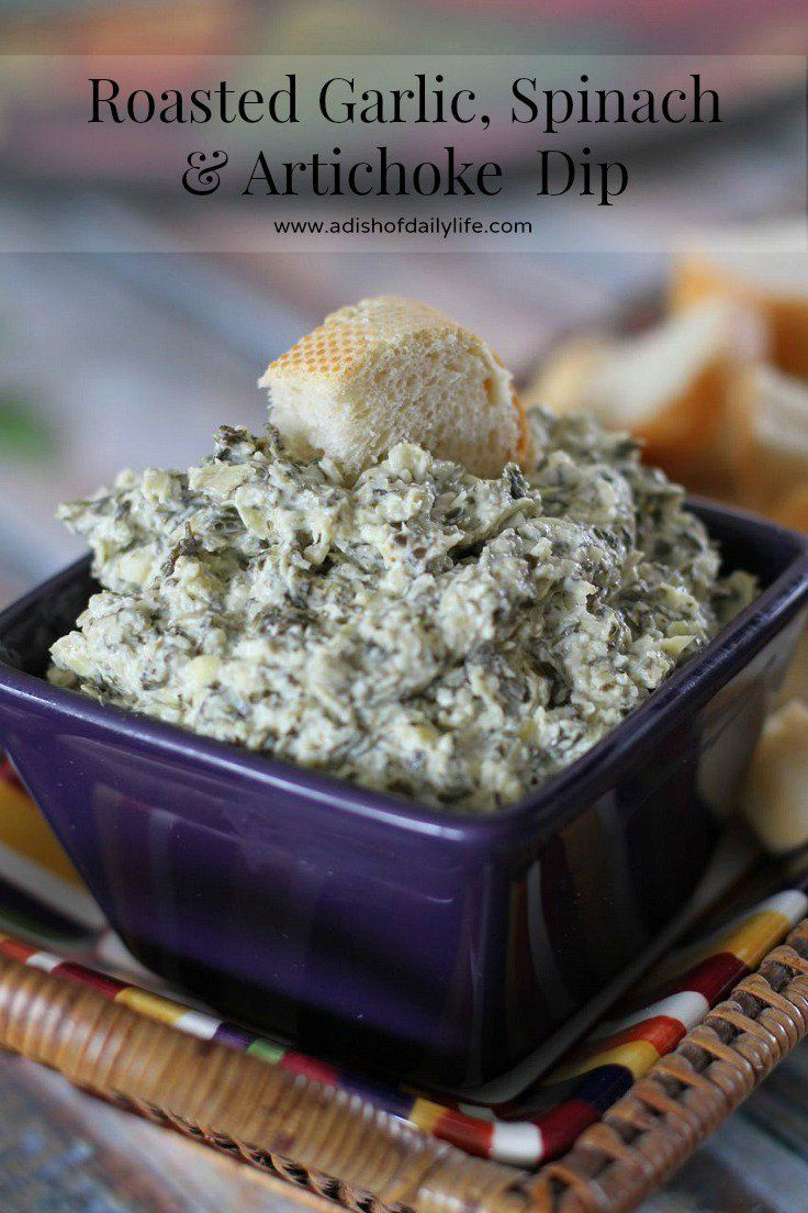 Roasted garlic gives an added dimension of flavor to this spinach and artichoke dip!