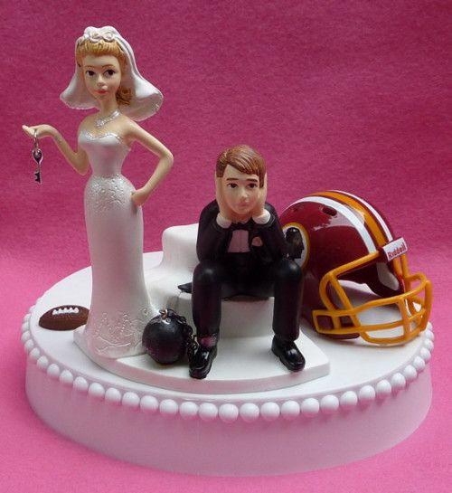 Funny Wedding Garters: Washington Redskins Football Themed Key Wedding Cake