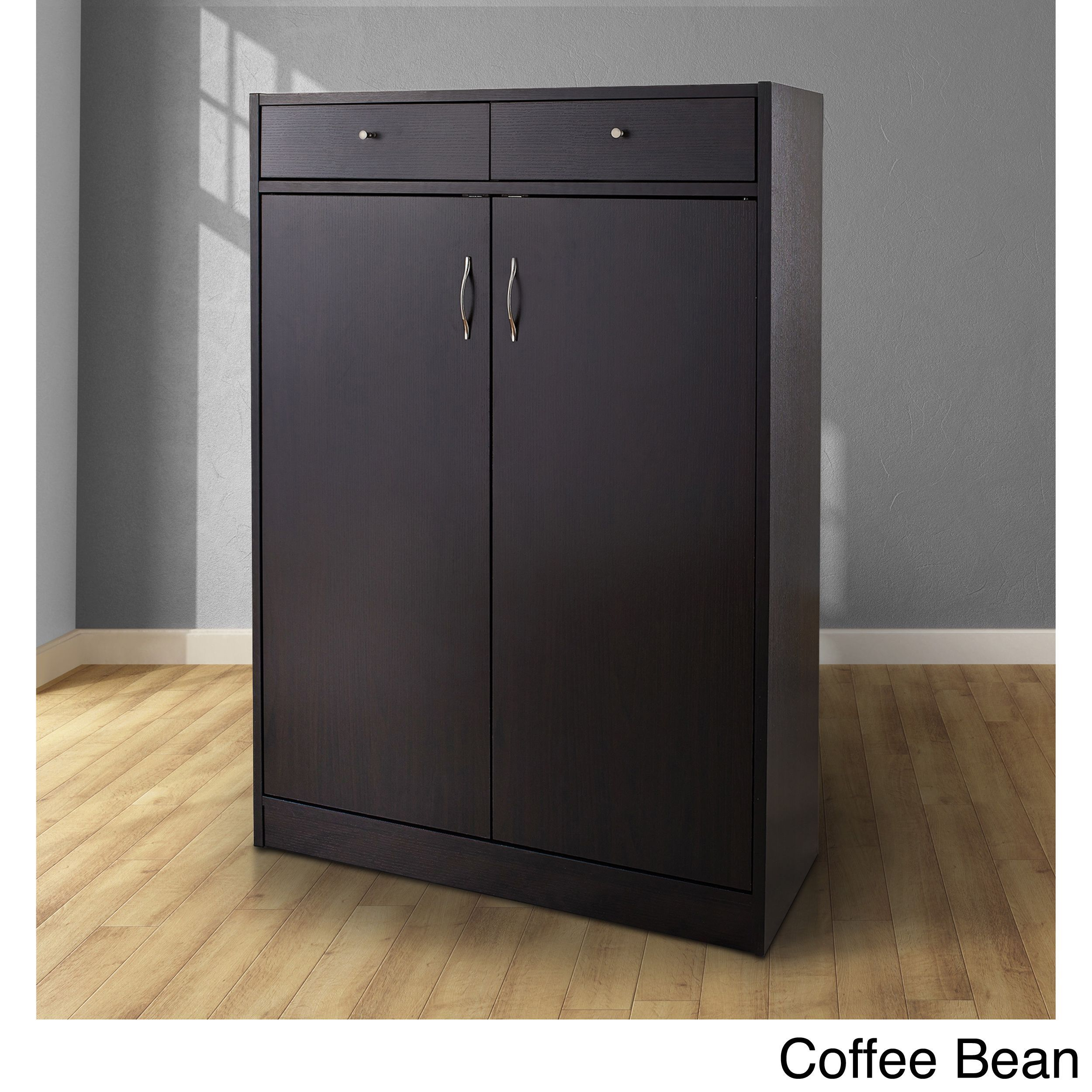 Furniture Of America 5 Shelf Shoe Cabinet With Two Upper Storage Bins Coffee Bean