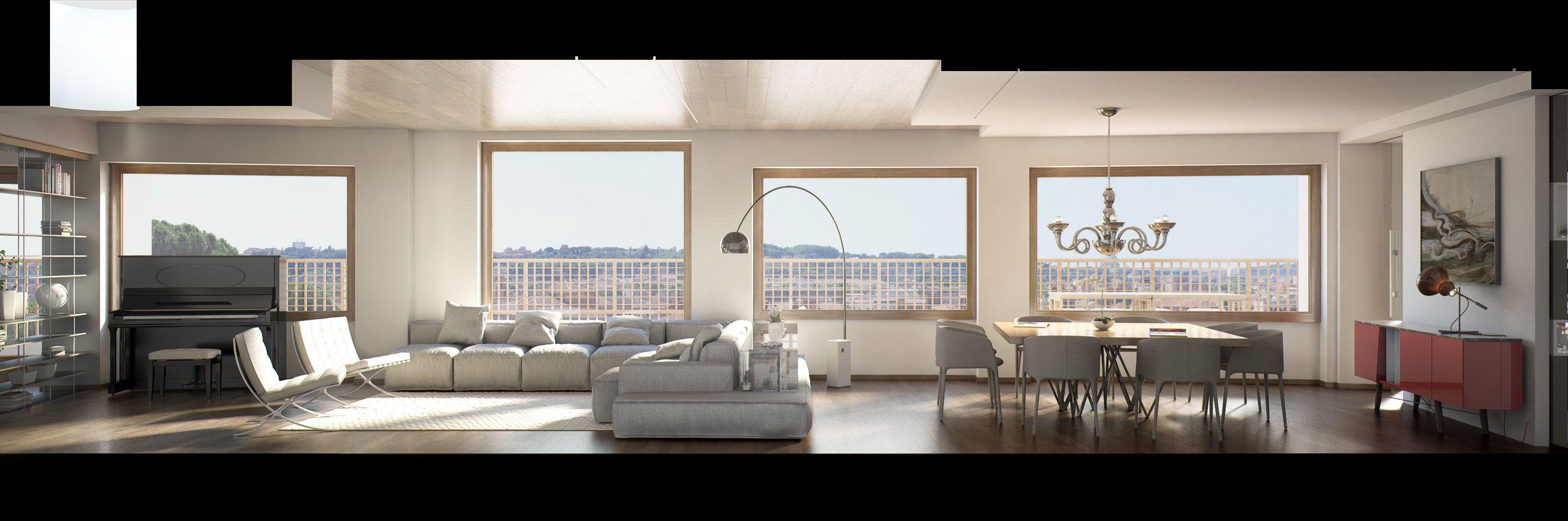 Render di un open space moderno con zona relax e sala da pranzo ...